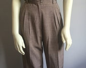 90s ultra high waist taupe light brown knit pocketless vertical pleat VINTAGE slacks pants trousers work office professional classy XS S 4 6