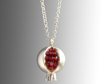 Pomegranate Necklace - Pomegranate Pendant - Pomegranate Jewelry - Silver Pomegranate - TINY Pomegranate Silver Necklace - Garnet Necklace