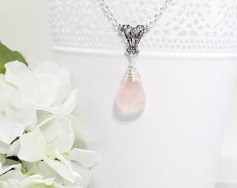 Pink Rose Quartz Silver Pendant Necklace - Gemstone Necklace - Gemstone Jewelry - Raw Stone Necklace - Gift for Women Boss - Mom Gift