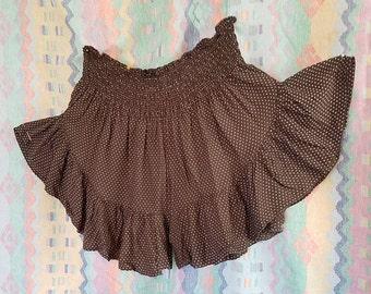 Polka dot ruffle shorts, stretch waist, flutter shorts