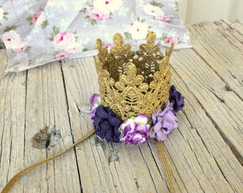 SOFIA THE FIRST Crown Embellished gold crown Girl Baby Princess Sofia Crown Princess keepsake Lace crown newborn photography prop cake smash