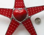 Dash Heart- 10 inch lacquered fabric on glass points with colored and etched soapstone heart center