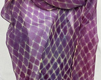 silk scarf hand painted extra long chiffon Purple Lemon Fishnet unique women wearable art fashion