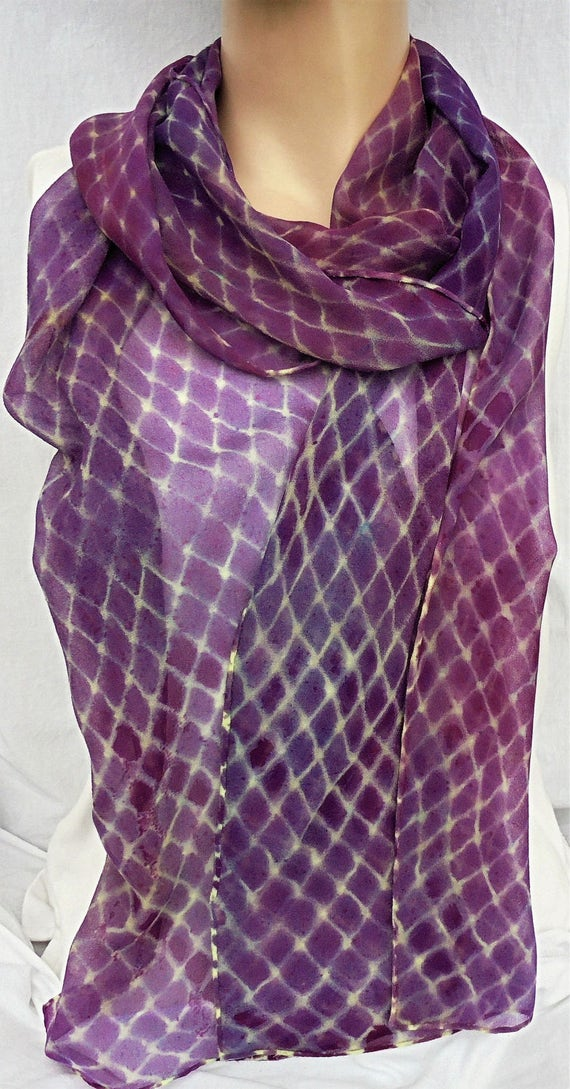 silk scarf hand painted extra long chiffon Purple Lemon Fishnet unique women wearable art fashion