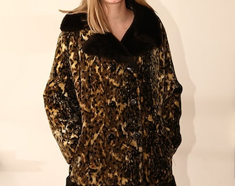 XL vintage 60s 70s vegan leopard VELVET faux fur trimmed princess coat