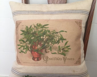 Vintage Grain Sack Pillow Cover Christmas Wishes by Gathered Comforts