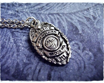 Silver Police Badge Necklace - Antique Pewter Police Badge Charm on a Delicate Silver Plated Cable Chain or Charm Only