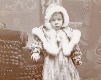 Little Girl BUNDLED up in Fur Trimmed WINTER COAT Cabinet Card Photo Pelican Rapids Minnesota circa 1890s