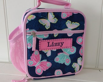 Lunch Bag With Monogram Classic Style Pottery Barn -- Navy Lace Butterfly
