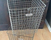 PRIVATE LISTING - Pair of Vintage Locker Baskets, Hume Mfg Co Baskets, Number 141 & 142, Kansas City, MO