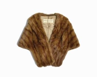 Vintage 60s Brown Fur Stole / Vintage Fur Cape / Winter Wedding Cape / Vintage Rabbit Fur Coat