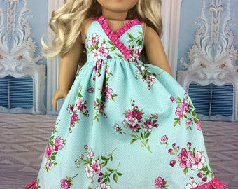 18 inch doll ag dress Floral gown fits american girl size doll Turquoise blue maxi dress