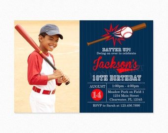 Baseball Birthday Party Invitation,  Red, Blue, Boy, Little Slugger, Personalized, Printable and Printed
