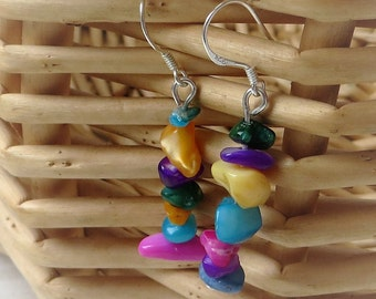 Colorful Earrings Handmade, Colorful Jewelry, Colorful Stone Earrings, Colorful Beaded Earrings, Stone Drop Earrings, Earrings Stone