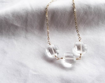 Crystal Quartz and Gold Linked Necklace | Gold Filled Gemstone Necklace | You're a Gem Collection