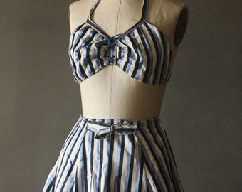 """Vintage 30's/40's Handmade Black, Blue Satin and White Two Piece Bathing Suit with Name Embroidered """"Mary Ellen"""""""