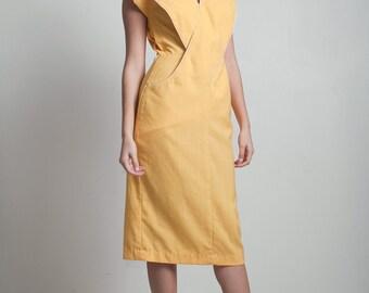 vintage 80s origami dress yellow crisscross front sleeveless kangaroo pocket SMALL S