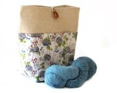 Linen/Cotton Small Project Knitting Bag with Pocket, crochet, storage, gift bag, with gorgeous hedgehog fabric and wooden button fastening
