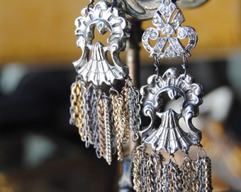 Deco Fringe--Vintage Chain Art Deco Dress Clip EARRINGS
