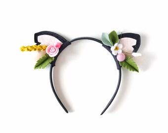 Woodland Floral Crown Headband, Barnyard Kitty Ears, Felt Flowers, giddyupandgrow