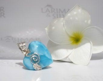 Larimar heart pendant by Larimarandsilver, Nymph Love - river blue Larimar heart, denim blue heart, silver vine, handcrafted Larimar pendant