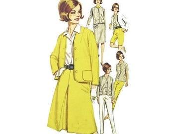 Butterick 2710 - Size 16 - Bust 36 - Skinny Pants - Inverted Pleat Skirt - Pencil Skirt - Long Shorts - 1960s Pattern