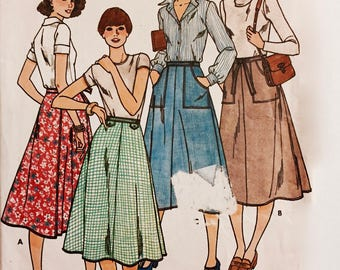 Butterick 6022 - One Size Fits All - Wrap Skirt Pattern - Below  Knee Length - Four skirt styles - 1970s Sewing Pattern