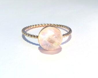 Moonstone ring, Rainbow Moonstone Ring, 14k yellow gold stacking ring, Gemstone ring, Gold Moonstone Ring, Gold Ring, Gold stacking ring