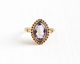 Sale - Vintage 10k Yellow Gold Marquise Cut Simulated Amethyst Ring - 1940s Size 5 1/2 Rose De France Purple Glass Stone BDA Fine Jewelry