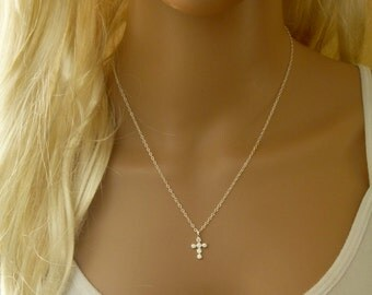 Cross Pendant Necklace with CZ Crystal
