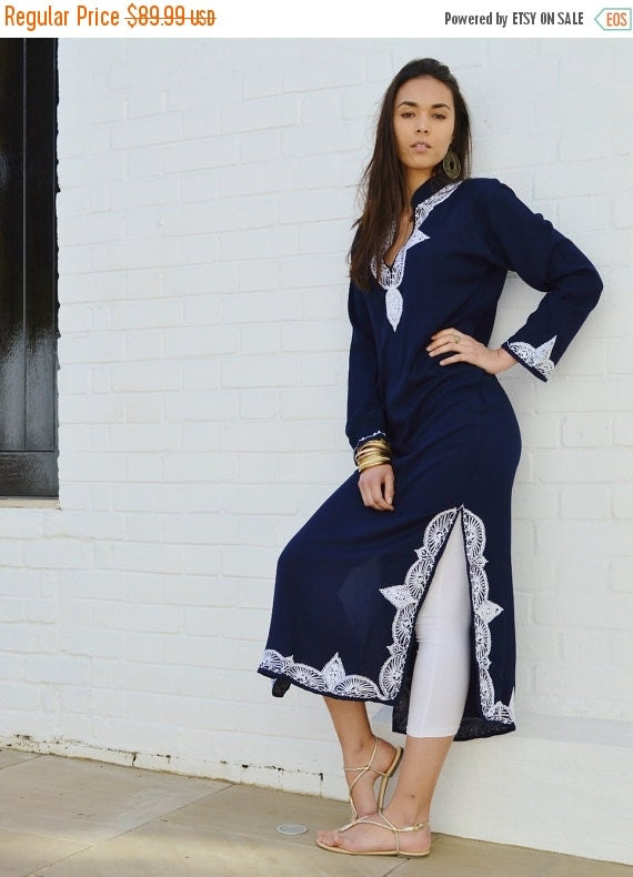 New Trendy Salma Style Navy Blue Caftan Kaftan- loungewear,resortwear, Ramadan, Eid, beach cover up, Wedding, Birthday,