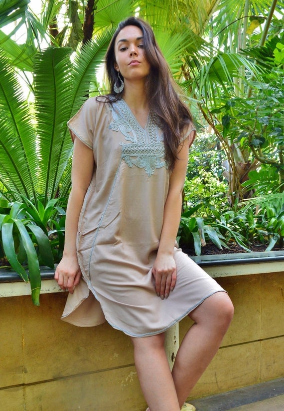 New Beige Silver Marrakech Resort SHORT Tunic Caftan Kaftan - Summer dress, spring dress,beach cover ups, resortwear,loungewear, birthdays