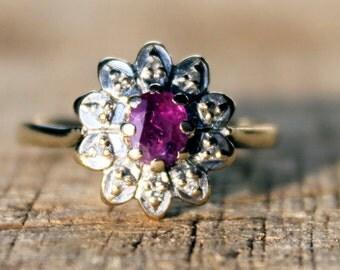 Vintage Ruby Diamond Ring Engagement Ladies Wedding High Fashion 9ct 9k Yellow Gold | FREE SHIPPING | M.5 / 6.5