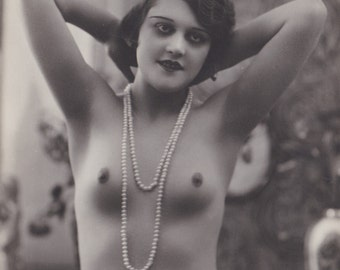 Mature. Nude French Flapper with Pearls 1, by Corona, circa 1920s