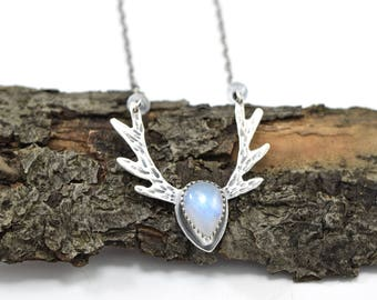 Moonstone Deer Antler Necklace in Sterling Silver - Natural Rainbow Moonstone Necklace  - Deer Jewelry