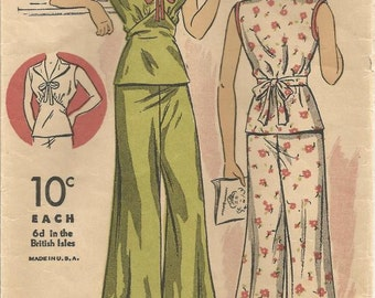 1930s Pajamas Beach Pajamas Pants V Neck Blouse DuBarry 1609 B Size 14 Bust 32 Women's Vintage Sewing Pattern