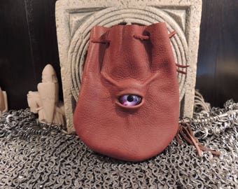 Dragon eye dice bag (Rust  leather with Purple Eye)----New Style-----