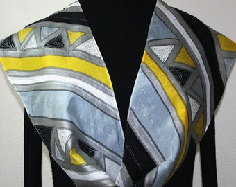 Black, Grey, Yellow Silk Scarf Hand Painted SILVER AZTEC. Offered in Several SIZES. Silk Scarves Colorado. Christmas Gift. Anniversary Gift