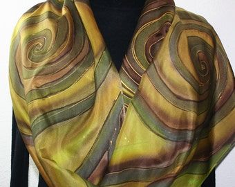 Silk Scarf Handpainted. Green, Lime, Terracotta Hand Painted Shawl. Handmade Silk Scarf SPRING FIELDS. Large 14x72. Anniversary, Mother Gift