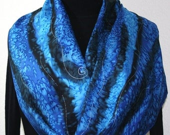 Blue Silk Scarf. Blue Hand Painted Silk Scarf MOUNTAIN RIVERS, in Several SIZES, by Silk Scarves Colorado. Birthday Gift. Bridesmaid Gift