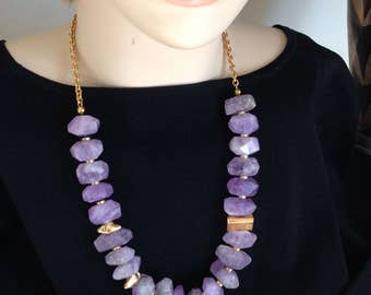 Ashira Natural Amethyst & Gold Vermeil nuggets / Gold Plated Chain Necklace