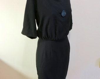 Dress black wool blend with linen blouse office LARGE BUTTONS rockabilly mod pencil skirt M