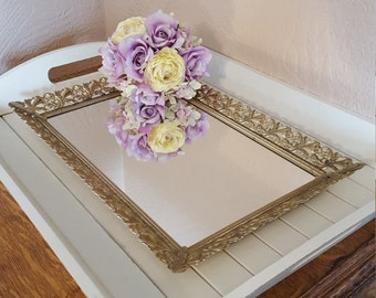 Vanity Tray With Gold Tone Filigree - Rectangular Mirrored - Oak Hill Vintage