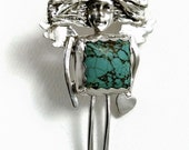 Unusual Sterling Jewelry For Women, Robin Wade Jewelry, Inspirational Silver Jewelry, Silver Turquoise Angel, Aiden Is Kind And Loving, 1945