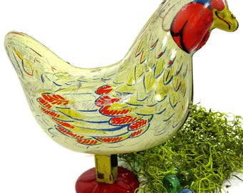 Vintage Egg Laying Chicken Hen, Steel Toy by Wyandotte Toys, EASTER, Spring Decor, Child's Room Decor