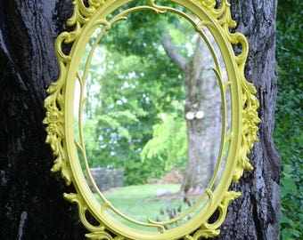 Ornate Mirror, Yellow Mirror, Nursery Mirror, Accent Mirror, Hollywood Regency Mirror,  Size  29 x 18 , Buy in Yellow or Choose Color