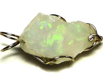 Ethiopian Opal Pendant in Gold (13.2 ct) 14k Opal Necklace, Gold Welo Opal Jewelry, Raw Opal Mens Necklace, Crystal Opal Rough Wire Wrap Z