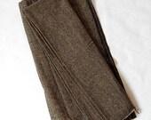 Vintage Wool Herringbone Fabric Brown Black Herringbone Wool Fabric Yardage 1 Piece Wool Fabric / Vintage Textiles Vintage Fabrics