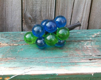 Vintage Blue and Green Lucite Grape Cluster