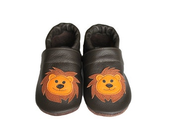 Leather Baby Booties, Baby Shoes, Lion Infant Newborn Nursery Children Orange Brown